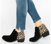 Penelope Ankle-Boots aus Wildleder mit Leoparden-Detail Mehrfarbig