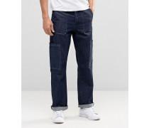 Gerade geschnittene Cargo-Jeans in Indigoblau Blau