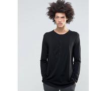 Langärmliges Pikee-Grandad-Shirt in Schwarz Schwarz