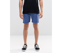 Schmale Stretch-Jeanshorts in Hellblau Blau