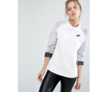 Premium Pullover mit Rundhalsausschnitt und Einsatz Weiß