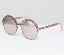 Runde, rosafarbene Sonnenbrille mit flachen Gläsern Rosa