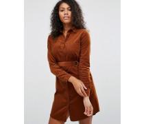 Hemdkleid mit Gürtel Braun