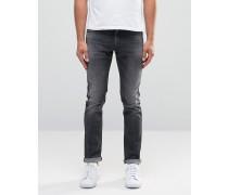 Superenge Jeans in Used-Optik und verwaschenem Schwarz Schwarz