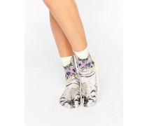 Socken mit Katzenmotiv Weiß