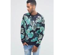 Gemustertes Sweatshirt mit Rundhalsausschnitt Schwarz
