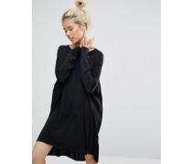 Sich samtig anfühlendes Kleid Schwarz
