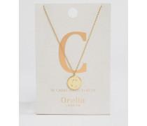 Vergoldete Halskette mit C-Anhänger Gold