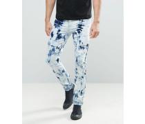 Enge Jeans in Batikfärbung Blau