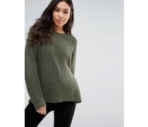 Gerippter Oversize Pullover mit Rundhalsausschnitt Grün