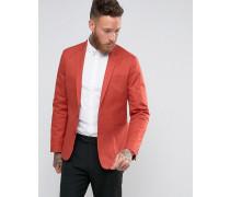 Enger Blazer aus gewaschener Baumwolle in Rostrot Orange