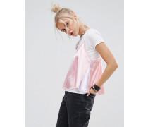 T-Shirt mit Oberlage aus Pastell-Satin Mehrfarbig