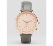 Uhr mit Armband aus echtem Leder und sehr großem Zifferblatt Grau