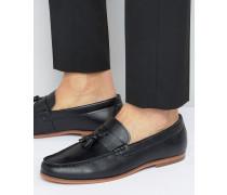Schwarze Slipper mit Quasten Schwarz