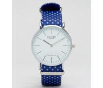 Uhr mit gepunktetem Armband in Blau Blau