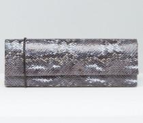 Clutch in Schlangenlederoptik Grau