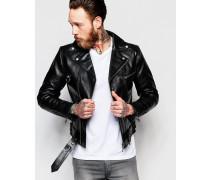 Ziggy Bikerjacke aus Leder Schwarz