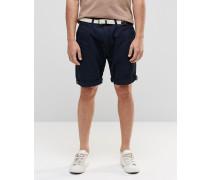 Chino-Shorts mit gewebtem Gürtel Marineblau