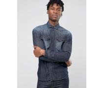 Jeanshemd mit Tasche im Westernstil, reguläre Passform Blau