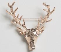 DesignB London Roségoldene Reversnadel mit Hirschdesign Gold