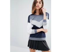 Sweatshirt in Blockfarben Marineblau