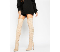 KARIANNE Overknee-Stiefel mit mehreren Riemen Beige