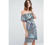 Bardot-Kleid mit Palmenmuster Mehrfarbig