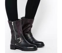 Mittelhohe Stiefel mit Kunstpelzfutter Schwarz