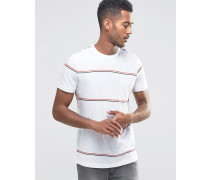 Gestreiftes T-Shirt mit Rundhalsausschnitt und Tasche Weiß