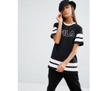 Übergroßes Boyfriend-T-Shirt mit Streifendesign und Logodruck Schwarz