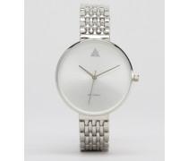 Uhr mit großem Ziffernblatt und schmalem Armband Silber