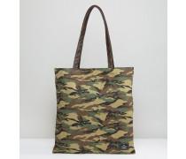 Tragetasche mit Military-Muster und Kunstlederriemen Grün