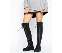 KOBUS Overknee-Stiefel mit Schnürung Schwarz