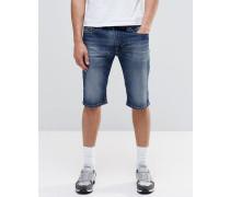 Schmale Shorts in dunkler Thashort Vintage-Waschung Blau