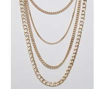 Mehrlagige Halskette Gold