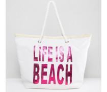 Life Is A Beach Strandtasche Rosa