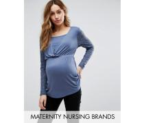 Mamalicious Maternity Lason Still-Tunika mit Spitzenärmeln Blau