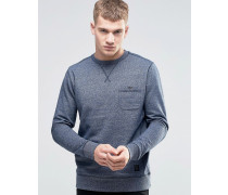 Melierter Pullover mit Rundhalsausschnitt Marineblau
