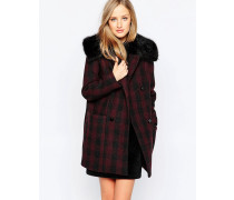 Highland Wool Mantel mit Kunstfellkragen Rot