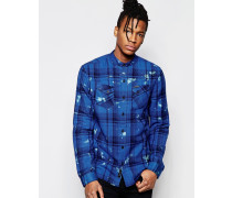 Bedrucktes kurzärmliges Hemd Blau