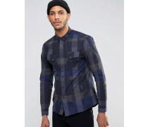 Kariertes Langarmhemd Marineblau