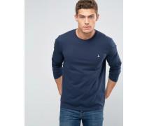 Langärmliges exklusives T-Shirt mit Logo in Marineblau Marineblau