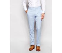 Schmal geschnittene Anzughose aus Leinen Blau