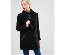 Mantel mit Rippstrickkragen und Reißverschluss Schwarz