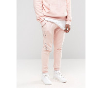 Enge Jogginghose in Distressed-Optik Rosa