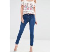 Skinny-Jeans in blauer Waschung mit mittelhohem Bund Blau