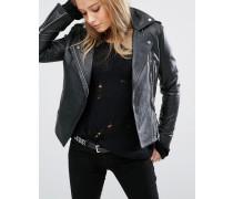 Anliegende Jacke mit Kontrasteinsatz Schwarz