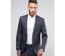 Enge Anzugjacke mit farblich abgestimmtem, marineblauem Palmenmuster Schwarz