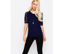 Kurzärmliger Pullover mit Gitter-Ärmeln Marineblau