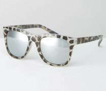 Flache Sonnenbrille in Schildpattoptik mit verspiegelten Gläsern Braun